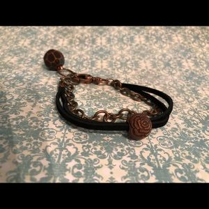 Jewelry - Leather and chain bracelet